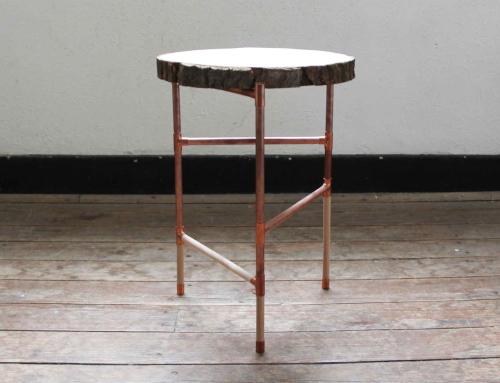 DIY tafeltje met koperen frame